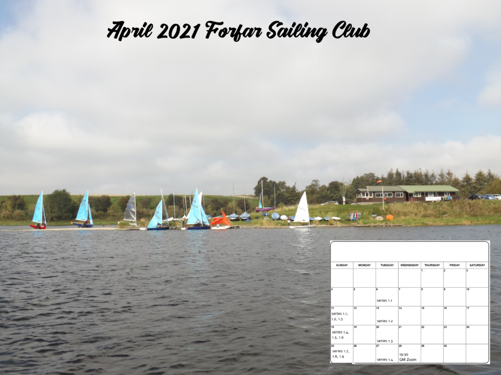 Forfar sailing club with boats on the jetties and a calendar at the bottom